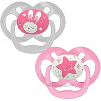 Dr. Brown's Advantage Baby Pacifiers Glow-in-The-Dark 6-18 Month Pacifiers Pink 2 Count