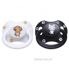 LittleForBig Bigshield Generation-II Adult Sized Pacifier Printed Set Black Kitty and White Puppy