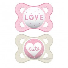 MAM Attitude Collection Pacifiers 2 pack 1 Sterilizing Pacifier Case MAM Pacifier 0-6 Months Baby Pacifiers Baby Girl Best Pacifier for Breastfed Babies Designs May Vary