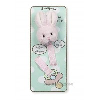 Bearington Baby Cottontail Plush Pink Bunny Rabbit Pacifier Holder with Satin Leash and Clip