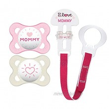 """MAM Pacifier and MAM Pacifier Clip Value Pack 2 Pacifiers & 1 Clip Pacifiers 0-6 Months for Baby Girl Baby Pacifiers """"I Love Mommy"""" Design Baby Pacifier Clips Designs May Vary"""