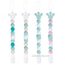 Yoofoss Pacifier Clip Silicone 4 Pack for Baby Boys & Girls BPA Free Teething Beads Fits Most Pacifier Styles & Teething Toys Green+White