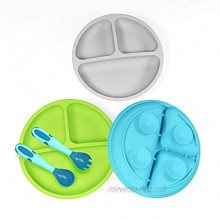 3 Pack Safe Silicone Baby Suction Plates Toddler Divided Plate Set with Spoon Fork Dishwasher and Microwave Safe Blue Green & Gray