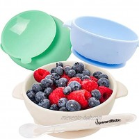 Baby Bowls with Suction 4 Piece Silicone Set with Spoon UpwardBaby for Babies Kids Toddlers BPA Free First Stage Self Feeding