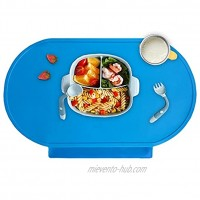 Silicone Baby Placemat Food-Grade Food Catching Placemats for Kids Baby Toddler Reusable Non-Slip Table Mats Baby Food Mats for Restaurant Lightweight and Portable,Baby Blue