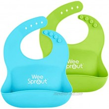 WeeSprout Waterproof Silicone Baby Bibs Set of 2 | Pocket to Catch Food