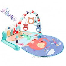 Baby Gym Play Mat Activity Center Gym Mat Tummy Time Mat Kick and Play Piano Baby Gym 34 Inch Play Mat with Upgrade USB Port for Charging 5 Hanging Toys Baby Toys 18 Months Green