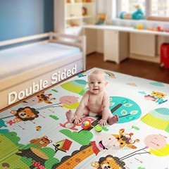 """Foldable Play Mat   Non-BPA Non-Toxic Foam Baby Playmat 79inch x 71inch 0.4"""" Thick Extra Large Reversible Crawling Mat Portable Toddlers Kids Waterproof Non-Slip Activity Tummy Time Road of City"""