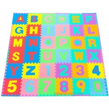 ProSource Kids Foam Puzzle Floor Play Mat with Shapes & Colors or Numbers & Alphabets 36 Tiles 12x12 and 24 Borders