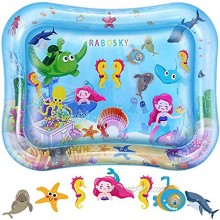 RaboSky Tummy Time Baby Water Mat Baby Toys for 3 6 9 12 Months Infants Baby Gift for Newborn Boys and Girls Fun Activity Play Center for Baby Stimulation Growth
