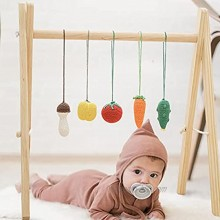 Wooden Baby Gym with 5 Crochet Pendant Toys. Foldable Baby Game Gym Frame for Boys and Girls Newborn Gifts