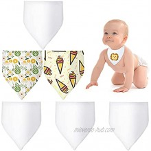 6 Pieces Sublimation Baby Blank Bibs Baby Bandana Drooling and Teething Bibs Unisex Newborn Feeder Bibs Boys Girls Toddler Solid Color Bibs for Baby White