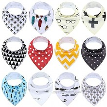 Baby Bandana Drool Bibs for Boys and Girls,Super Soft Unisex 12 Pack Absorbent Cotton Organic Bib Set for Teething and Drooling