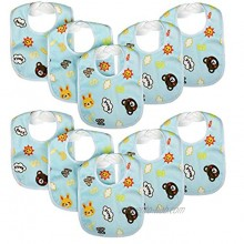 Zeltababy 10 Pack Waterproof Dribble Bib Snap Button Soft Absorbent Fabric for Drooling Teething Blue