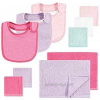 Hudson Baby Unisex Baby Rayon from Bamboo Bib Burp Cloth and Washcloth 10Pk Pink Lilac One Size