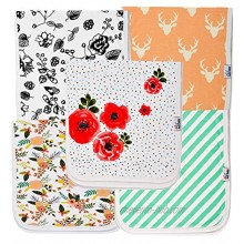 Ana Baby 100% Organic Baby Burp Cloth Large 21''x10'' Size Premium Absorbent Triple Layer Burping Rags 5 Pack for New Born Baby Girl Gift Set Burp Cloth Floral