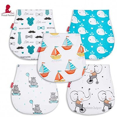Baby Burp Cloths for Boys Large Contoured Double-Layer Burping Towels Made of 100% Organic Cotton and Terry Cloth Soft and Absorbent Baby Shower Gift Perfect Gift for New Parents 5 Pack