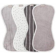 WeeSprout Set of 4 Organic Cotton Burp Cloths Four Ultra-Absorbent Layers Keep Clothes Dry Button Transforms Burp Cloth Into Baby Bib Machine Washable & Dryer Friendly Unisex for Boys & Girls
