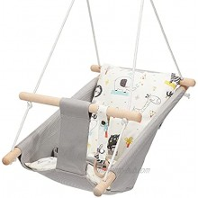 Mlian Secure Canvas and Wooden Baby Swing Hammock Chair Indoor and Outdoor Porch Fabric Swing Kids Toys Gray Seat Chair 6-36 Months with Natural Woodern Ring Secure Seat Belt and Animal Cushion