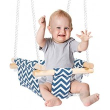 Sarhlio Hanging Swing Seat Chair for Infant and Toddle Wooden Canvas Hanging Baby Swing with Adjustable Ropes Kids Toys Gifts Swing for Indoor Outdoor Backyard 6 Months to 3 Years OldBHS01A