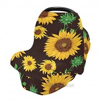 Nursing Cover Breastfeeding Scarf Sunflowers Black- Baby Car Seat Covers Stroller Cover Carseat Canopy v