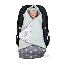 Premium Baby Bunting Bag for car seat by ULLENBOOM Universal fit carseat Stroller Carrier Blanket Cover carbag wrap Winter Mint Grey Stars Unisex