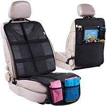 H Helteko Car Seat Protector with Thickest Padding + Backseat Car Organizer XL Largest Car Seat Cover for Child Baby Carseat Waterproof & Durable 600D Fabric Kick Mat Back Seat w  Storage Pockets