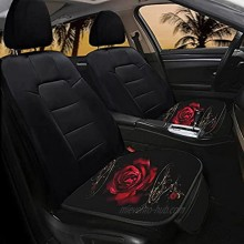 Yiekeluo Red Rose Flower Car Seat Bottom Covers Cushion Pad Mats 2 Packs Car Seats Protectors for Women Gifts