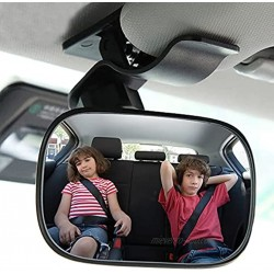 Automotive Interior Rearview Baby Mirror Car Small Clip-On Adjustable Facing Back Rear View Seat Convex Mirror Clip on Car or Truck Sun Visor