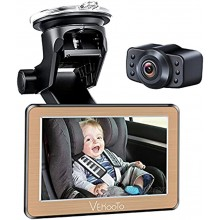 VEKOOTO Baby Car Mirror 5''Hd Display Automatically Switches the Night Vision Function Stable Suction Cup Holder 170° Wide-Angle Lens Wide View Easily View the Baby in the Back Seat