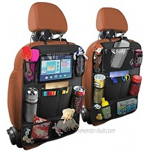 Car Seat Back Organizer 2 Pack Waterproof and Durable Car Seat Organizers with 10 Table Holder 9 Storage Pockets Car Seat Back Storage Organizer for Kids Travel Accessories