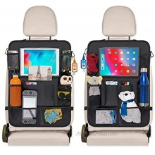 Car Seat Organizer for Toddlers and Big Kids with Kick Mats Back Seat Protector 9 Storage Pockets for Toys Travels Accessories Snacks Cup Holder and 10 Touch Screen Tablet Holder 2 Pack