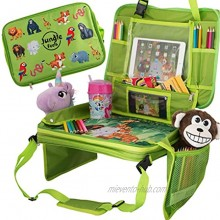 Car Seat Table for Toddler Travel & Kids Travel Tray Travel Accessories & Organizer for Kids Car Travel Tray & Activity Tray for Kids BONUS Coloring Book & 12 Crayons for Kids Car Activities