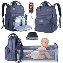 Diaper Bag Backpack,3 in 1 Baby Diaper Bag with Changing Station,Travel Foldable Baby Bed,Multi-Function Large-Capacity Baby Bags for Girls Boys Blue