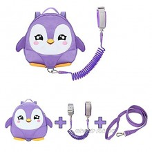 EPLAZA Toddler Leashes Penguin-Like Backpacks with Anti Lost Wrist Link Wristband for 1.5 to 3 Years Kids Girls Boys Safety Penguin Light Purple