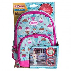 Nuby Quilted Sweet Girl Backpack with Safety Harness Leash Child Baby Toddler Travel