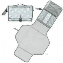Kiddibean Clutch Diaper Changing Pad Waterproof Baby Travel Changing Station –Portable and Easy to use Built-in Head Cushion – Multiple Pockets Cute Elephant Print Grey