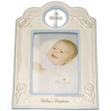 DEMDACO Blue Baby's Baptism 6.75 x 9.75 Porcelain Picture Frame