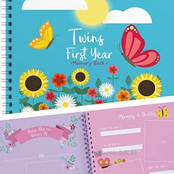 Twins First Year Hardcover Memory Book Butterfly Edition   Newborn Babies 1st Year Journal And Milestones Photo Album   Perfect and Unique Gift Idea for Baby Showers and Birthday Presents