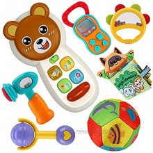 Earsam 6 to 12 Months Baby Phone Toy Rattles Musical Set Infants Cell Phone Toy & Babies Rattles Teethers Set and Animals Newborn Soft Cloth Book Baby Toys Early Educational and Sensory Learning