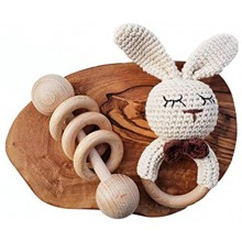 Mali Wear Natural Baby Rattle Crochet Cotton Bunny Teether and Classic Wooden Ring Toy Rattle Gender Neutral Montessori Neutral Bunny & Classic Rattle