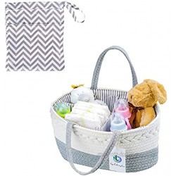 Luxury Care Baby Diaper Caddy Organizer Rope Nursery Storage Bin for Boys and Girls 100% Cotton Canvas Portable Diaper Storage Basket for Changing Table & Car Cotton Rope Shower Gift Basket With Canvas Bag
