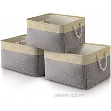 """OXZEEWEE 3Pack Storage Basket Fabric Storage for Gifts Empty,Canvas Storage Baskets Organizers with Rope Handles,Dog Toy Basket for Organizing Empty Gift BasketsGrey and Beige Color 15""""X10.5""""X9.5"""""""