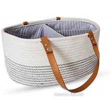 PeachyKehn Rope Baby Diaper Caddy Organizer – Trendy Nursery Storage Bin – Large Woven Cotton Tote with Removable Inserts and Eco Leather Handles – Baby Car Organizer or Shower Gift Basket