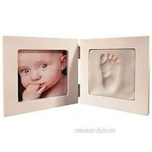 Artemio Kit cast Footprint of The Baby and Picture Frame Wood White 12.5 x 12.5 x 1.2 cm