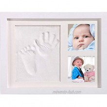 Baby Handprint and Footprint Photo Frame with Mold Clay Imprint Kit,Hand and Foot Print Nursery Decor,Keepsake for Newborn Baby Registry Growing Memory Gift
