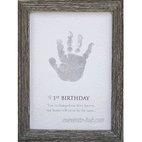 The Grandparent Gift Baby's First Birthday Keepsake Kit for Hand or Footprint Farm House Style Frame Grey