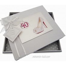 White Cotton Cards 40th Birthday Guest Book Glitter Ball and Shoes