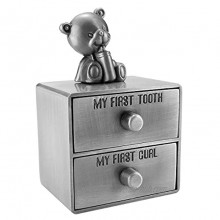 Mogoko Silver Tooth Box Baby First Tooth and Curl Keepsake Box Set Kids Teeth Fairy Holder for Boy or Girl