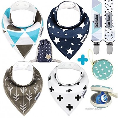 Dodo Babies Baby Bandana Drool Bib Set 4pc Infant Bibs with 2 Pacifier Clips Binky Case Gift-Ready Bag Soft Absorbent Cotton with Polyester Back Adjustable Buttons to Fit 3-24 -Month Old Boys